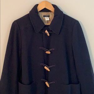 J. Crew toggle front wool coat in navy.